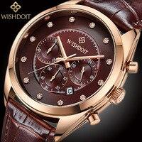 2017 New Famous Brand Rose Gold Casual Geneva Quartz Watch Men Leather Wristwatch WISHDOIT Sports Army Clock Relogio Masculino