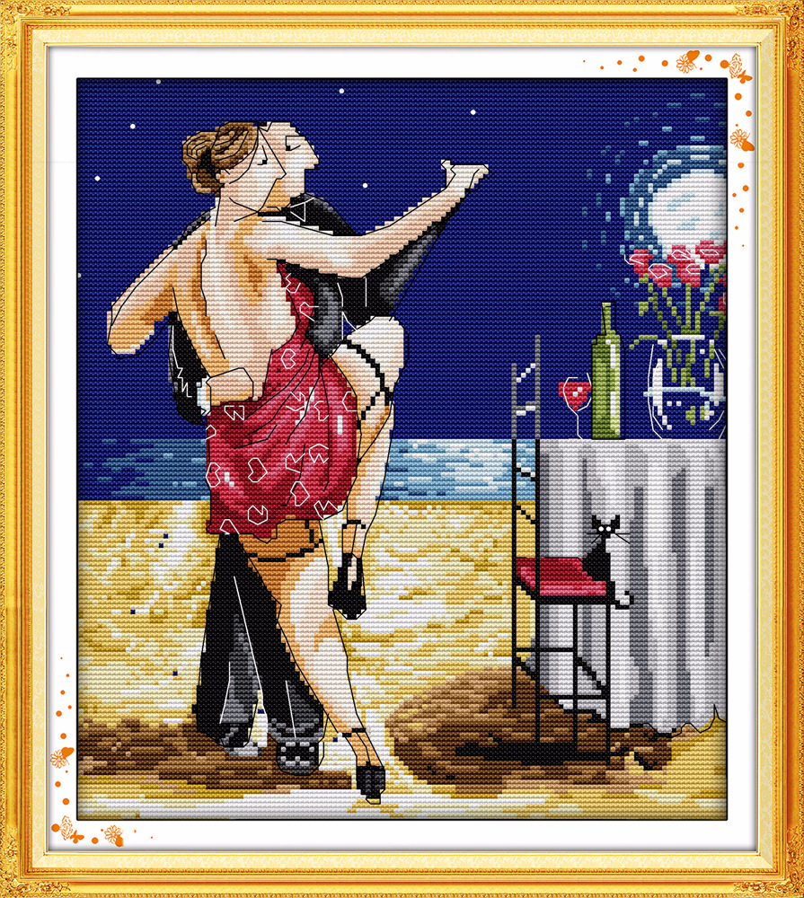 наслаждайтесь жизнью серии танго любителей штампованные и счетный крест узор наборы ДМС печатных вышивка рукоделие