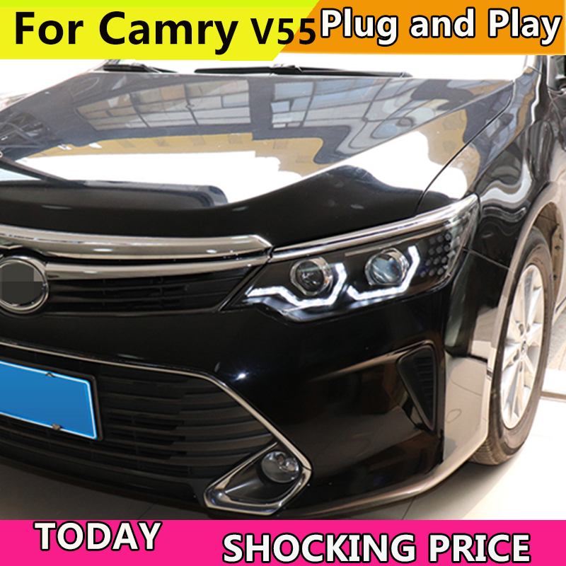 Car Styling For Toyota Camry 2015 2017 V55 Car Led Lights Double Xenon Lens Car Accessories