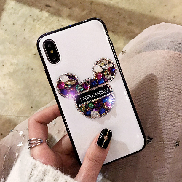 Luxury Diamond Mickey Case For Iphone X XS MAX XR 8 8 Plus 7 7 Plus Case ,Ultra Thin