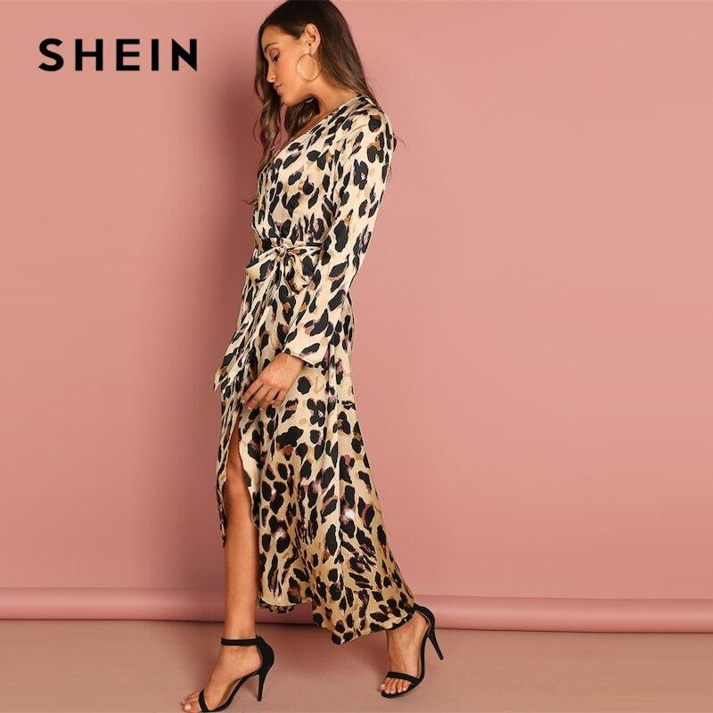 SHEIN Going Out Multicolor Surplice Wrap Satin Leopard Deep V Neck  Half Sleeve Dress Elegant Women Autumn Modern Lady Dresses 3