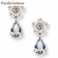 Pacificgoddess Luxury elegant big earrings geometric earrings bijoux nice earrings pearl earrings