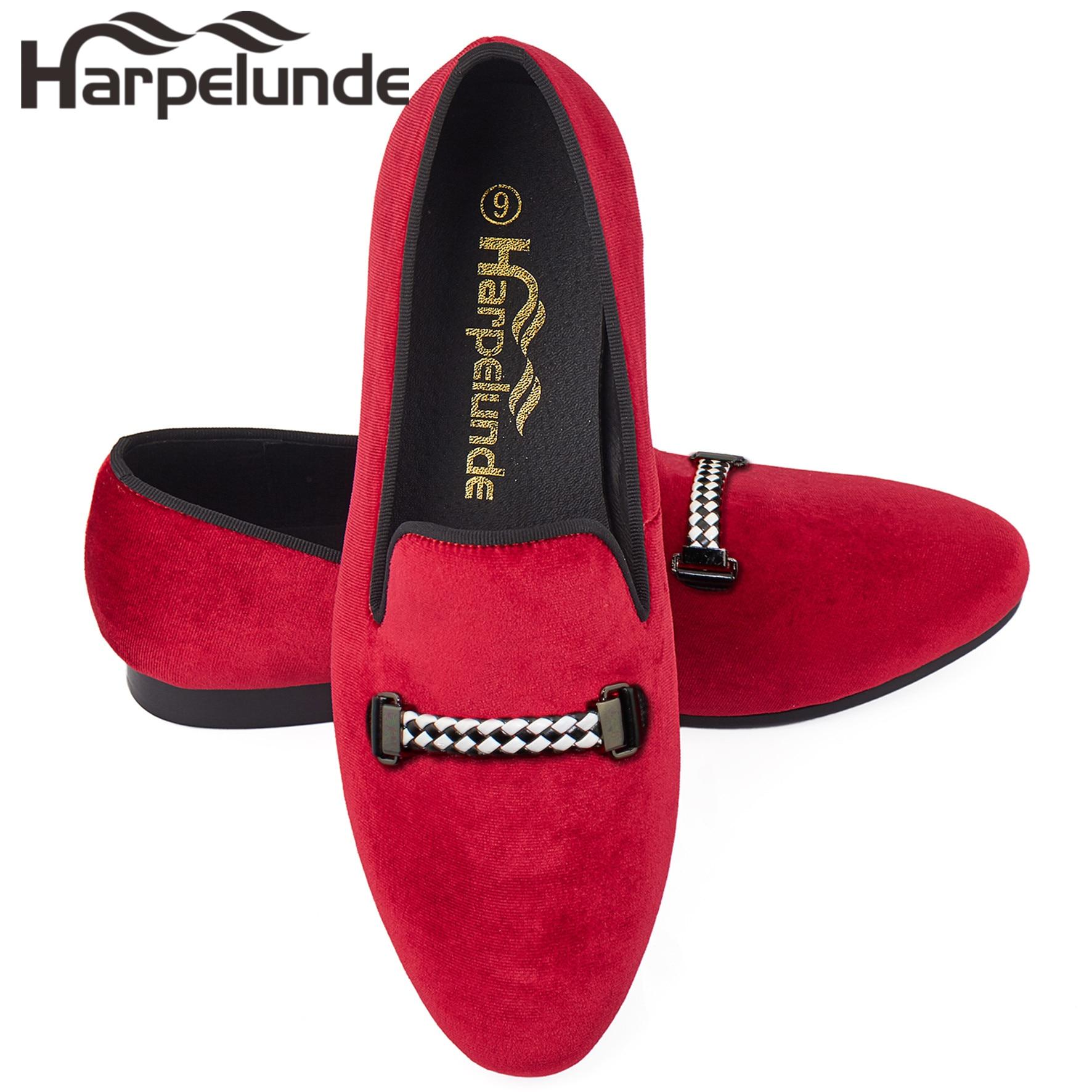 Harpelunde Men Loafer Shoes Buckle Red Velvet Flats