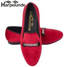 Harpelunde/мужские лоферы; Красные бархатные на плоской подошве