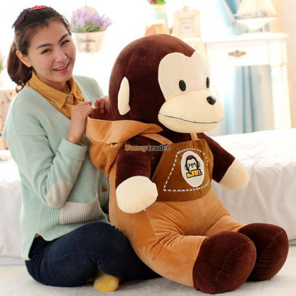 65cm Jumbo Super Funny Plush Soft Stuffed Braces Monkey Toy, Big Mouse Monkey Suspender Trousers with Cap Birthday Gift 1pc fancytrader new giant 31 80cm super lovely stuffed soft plush big face monkey toy 3 colors available free shipping ft50876