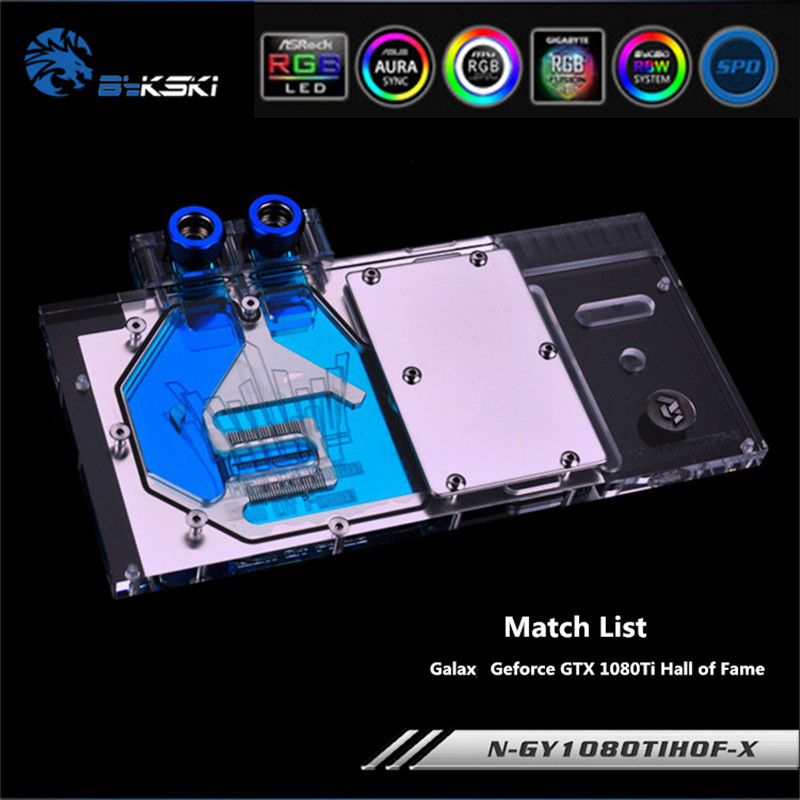 Bykski N-GY1080TIHOF-X Full Coverage GPU Water Block For GALAX Geforce GTX 1080Ti Hall of Fame Graphics Card Heat sink image