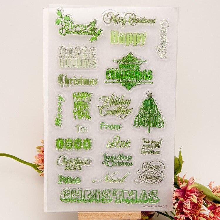 где купить  Christmas New Year Flower Clear Stamp Scrapbook DIY photo cards rubber seal happy transparent silicone pattern handwork art gift  по лучшей цене