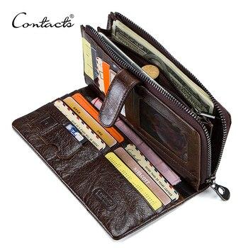 8cc5c048d19a Контакта из натуральной кожи мужские кошельки высокого качества длинный  клатч кошелек дизайнерский держатель для карт кошелек сумка карма.