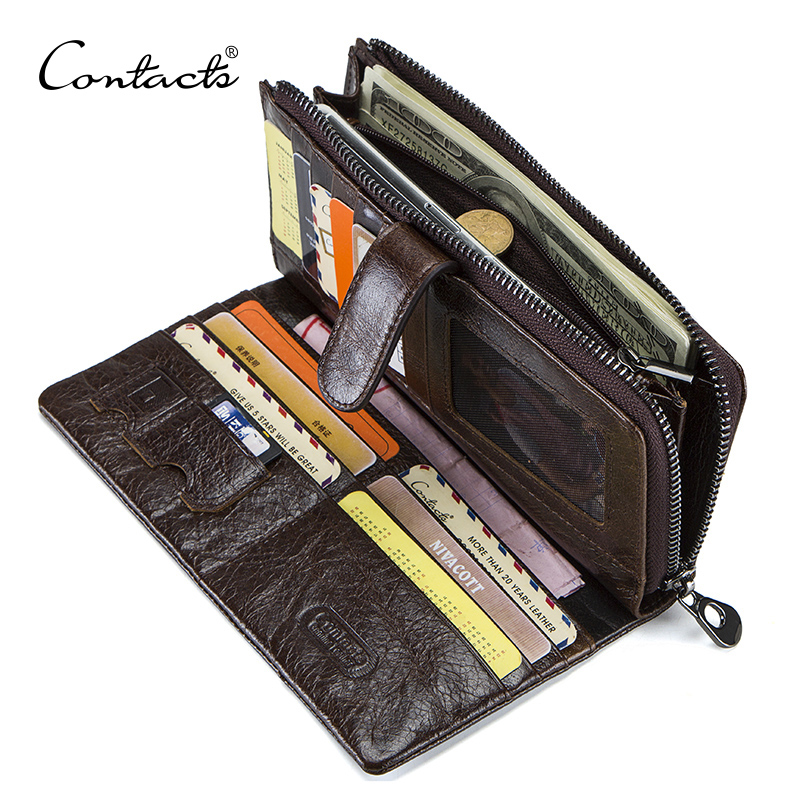 CONTACT'S Genuine Leather Men Wallets High Quality Long Clutch Wallet Design Card Holder Purse Bag Coin Pockets Famous Brand