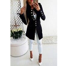 MISAUU New Fashion 2018 Women Jacket Coat Autumn Long Sleeve Button Casual Office Lady Work Female Slim Outwear