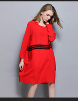 3XL women cotton linen autumn dress 2017 plus size women red casual fashion brand vintage knee length russia loose dress winter