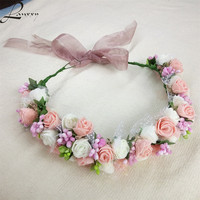 New Women Wedding Bridal Hair Bands Flowers Hair Accessories Floral Crown Girls Summer Outdoor Headwear Fashion