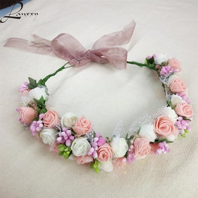 Lanxxy Nowy Kobiety Ślubne Opaski Do Włosów Kwiaty Akcesoria Do Włosów Dla Nowożeńców Floral Korona Dziewczyny Lato Moda Nakrycia Głowy Pałąk