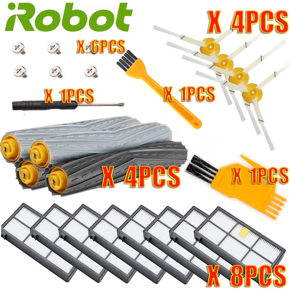 ل IRobot Roomba طقم قطع غيار سلسلة 800 860 865 866 870 871 880 885 886 890 900 960 966 980-فرش وفلاتر