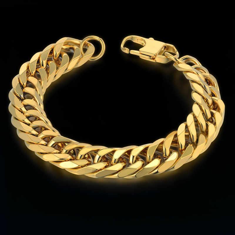 Kubański Link bransoletka dla mężczyzn biżuteria Punk złoty kolor ciężki długi łańcuszek Link mężczyzn ze stali nierdzewnej bransoletka Pulseras