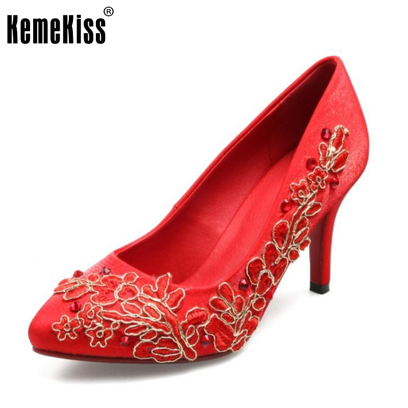 ФОТО Ladies Thin High Heel Shoes Women Pointed Toe Embroider Sexy Wedding Shoes Special Female Fashion Heeled Footwears Size 34-40