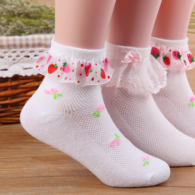 4 Pair/lot Girl Socks Children Baby Cotton Fashion Wild Lace Mesh Socks Summer New 2-12 Yrs Kids Birthday Gift Free Shipping CN