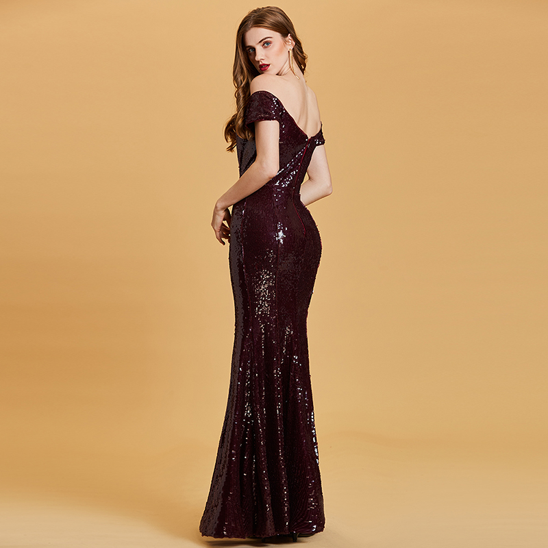 Купить с кэшбэком Tanpell off the shoulder evening dress burgundy sequins floor length gown women short sleeves formal long mermaid evening dress