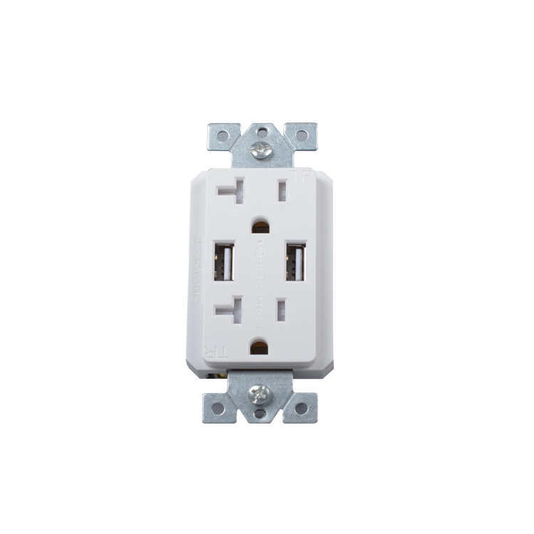 American Standard 20A ETL USB Receptacle, 100 240V Electrical Pop USB Wall  Socket, Usb Charger Wall Outlet