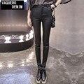 M-3XL 2016 Moda Espesar Pantalones Calientes Del Invierno de Alta Cintura del Estiramiento de LA PU de Cuero de Las Mujeres Pantalones Lápiz Negro Pantalones Femeninos Más El Tamaño