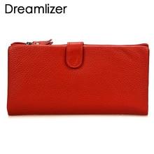 все цены на Dreamlizer Rainbow Color Genuine Leather Clutch Wallet Long Bifold Purse Female Soft Leather Clutch Bag Coin Purses Card Holder онлайн