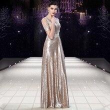 Glänzende Pailletten A Line Abendkleider 2016 Chic V-ausschnitt Kurzen Ärmeln Formale Kleid Bodenlangen Vestido de Festa