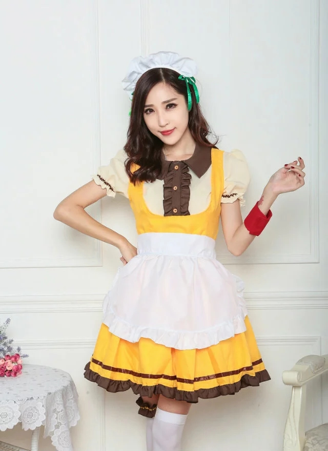 Vocole Women Anime Love Live Sunshine Cosplay Costumes Halloween Party Fancy Dress Lolita Maid Uniform