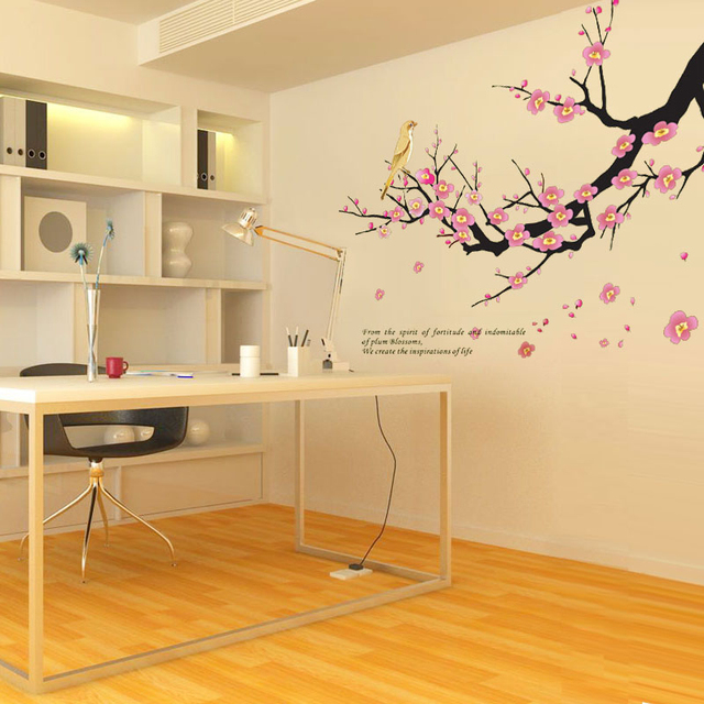 Romantic Plum Tree Branches Love Birds Wall Sticker Decal Bedroom ...