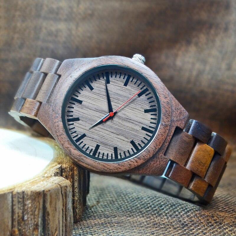 2018 mens relojes de madera de nogal reloj de pulsera de cuarzo - Relojes para hombres