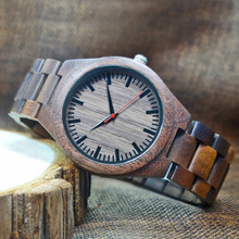 2018 Mens Walnut Trä Klockor Casual Quartz Armbandsur Full Natural Trä Klocka Man Klockor Mode Men Bangle Armbandsur