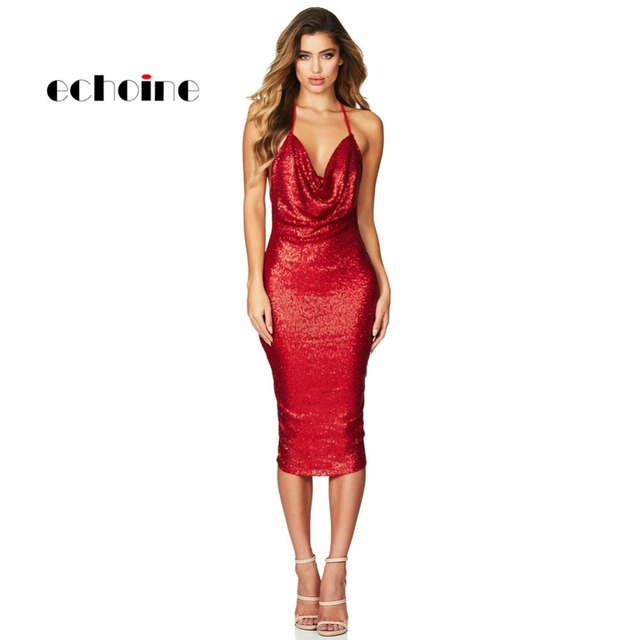 Echoine Women Party Dress Seductive Sequin Midi Night Club Dress Sexy Red Black  Bodycon Ladies Dresses Deep V-neck Hollow Out ea207a6e962d