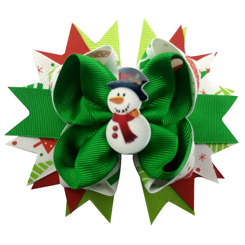 10pcs 5inch snowman New Hair Bow Headband hairpin dual lovely Santa Claus Christmas snow with colorful ribbons hair accessories