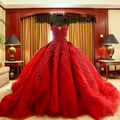 2017 Muslim Luxury Red Ball Gown Wedding Dresses Sweetheart Court Train Organza Lace Wedding Bridal Gowns W37
