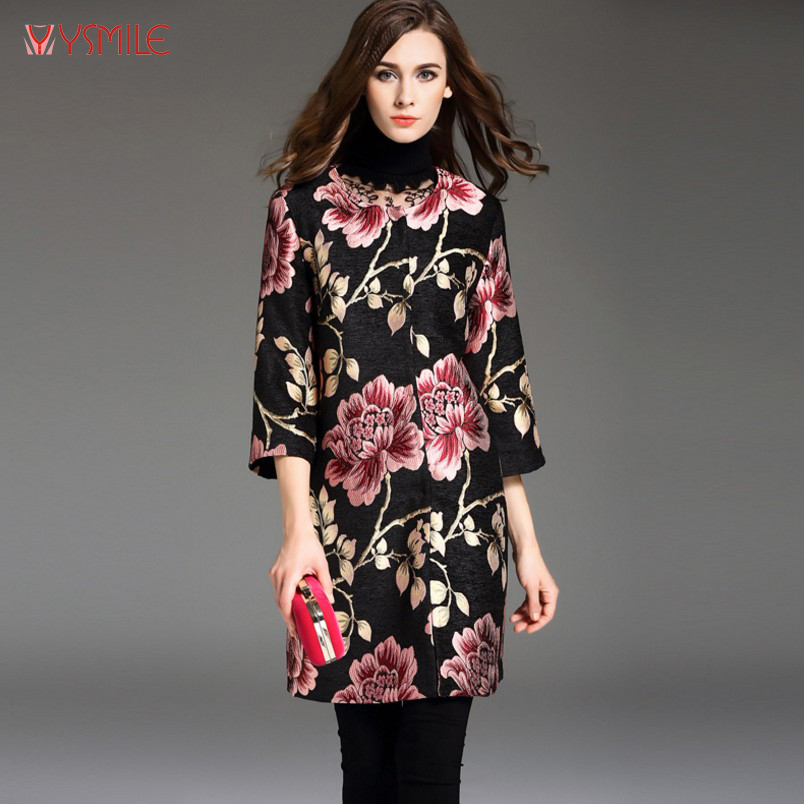 YSMILE Y Chinese Style Autumn And Winter Embroidery Dobby Flower Long Trench Plus Size Women Middle Aged Lady Trench Coat