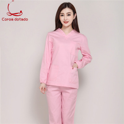 Hand-washing Clothes Full Cotton Long-sleeve Brush Hand Service Cosmetologist Service Operating Room Women Doctor Uniform