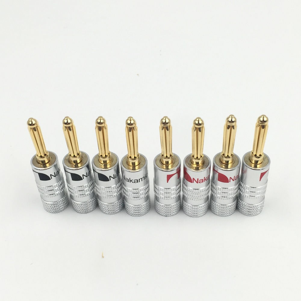 8pcs/lot New High Quality 24K Gold Nakamichi Speaker Banana Plugs Pure Copper Audio Jack Connector Free Drop Shipping