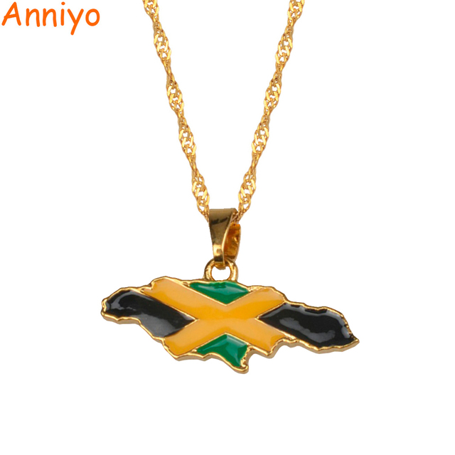 Anniyo Jamaica Map and National Flag Pendant Necklaces Gold Color Jewelry Jamaic