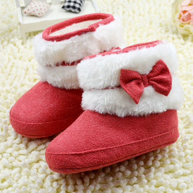 Cute Newborn Infant Baby Girl Bowknot Winter Fleece Soft Crib EVA Snow Boots Shoes Pink Red