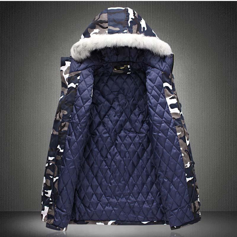 New Winter Men\`s Camouflage Jacket and Coats With Fur Hood Warm Thick Parka Fashion Designer Male Outwear Coats (9)