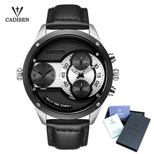 CADISEN Top Mens Watch  Luxury Casual Military Dual Time Zone Chronograph Men Quartz Watches  Waterproof Wristwatch Leather Band luxury brand cadisen men watch quartz watches big design dual time zone casual military waterproof wristwatch relogio masculino