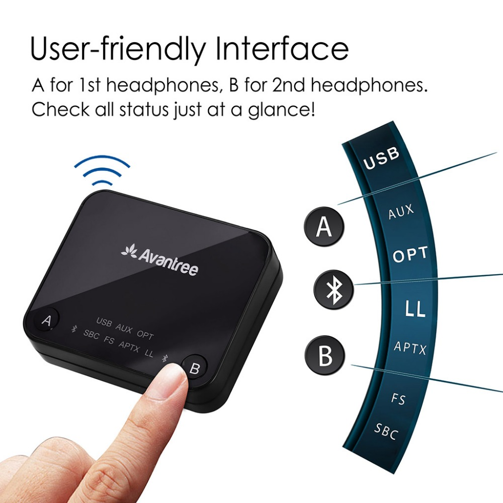 Image 2 - Avantree Dual Link aptX Low Latency supported transmitter with LED, TX Bluetooth Transmitter for TV Bluetooth Audio Adapter-in Wireless Adapter from Consumer Electronics