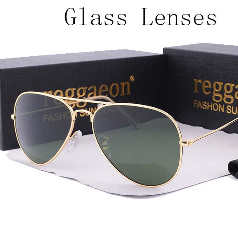8cd5c1a096b1 reggaeon luxury Glass lens sunglasses women 2019 High quality uv400 men Brand  Designer beach box rays Pilot Sun glasses G15-in Sunglasses from Apparel ...