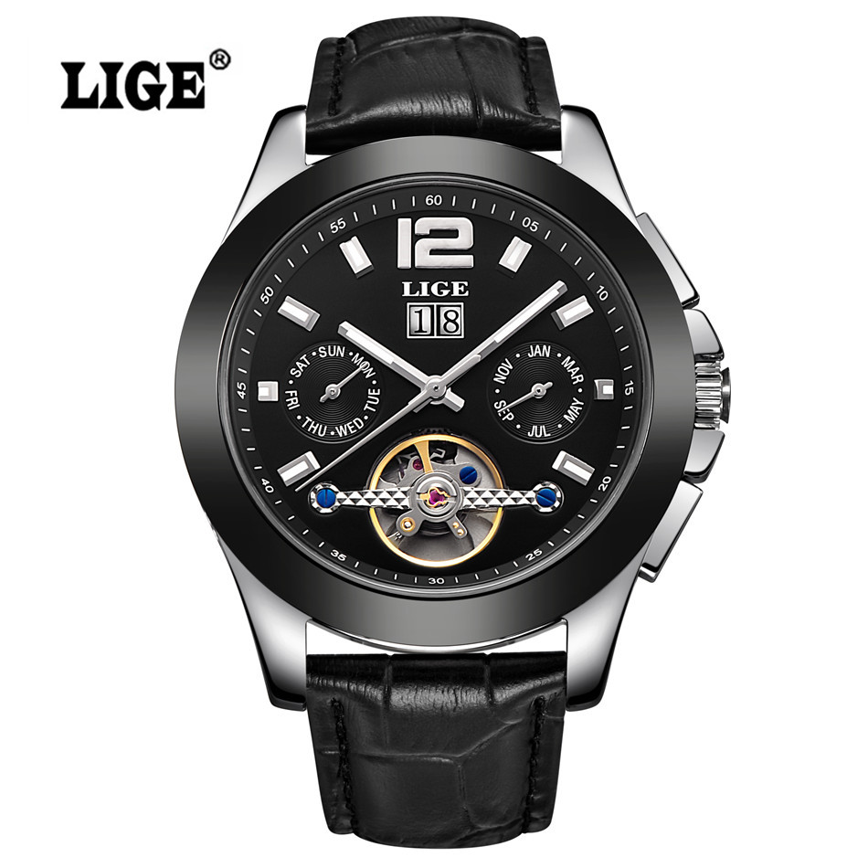 ФОТО Relogio Masculino Men's LIGE Brand Luxury Automatic Watch men Fashion Casual Dive Date Clock Business Wrist watches reloj hombre