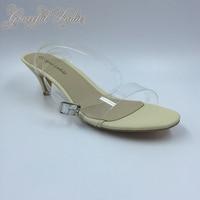 Cheap Transparent PVC Low Heel Women Sandals Cheap Celebrity Kim Kardashian Plastic Ankle Strap Sandal Plus Size Shoes Ladies