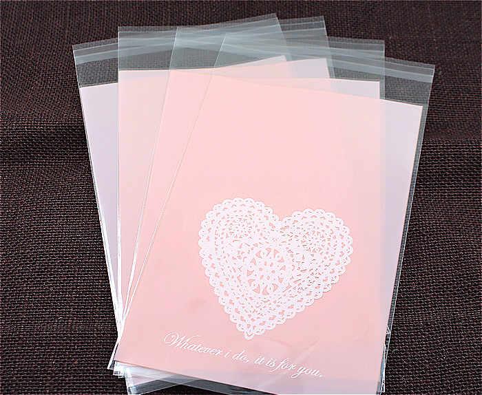 100 cái/lốc trái tim Màu Hồng Nhựa cookie bao bì túi cupcake wrapper tự dính túi 13x19 cm miễn phí vận chuyển