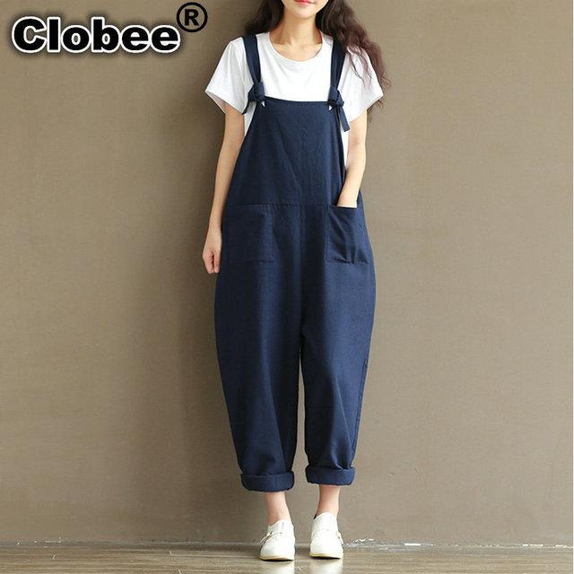 14c23346be4e Plus Size Summer Jumpsuit Autumn Women Cotton Linen Overalls Blue Wedding Elegant  Jumpsuits Sleeveless Pant bodysuit women V