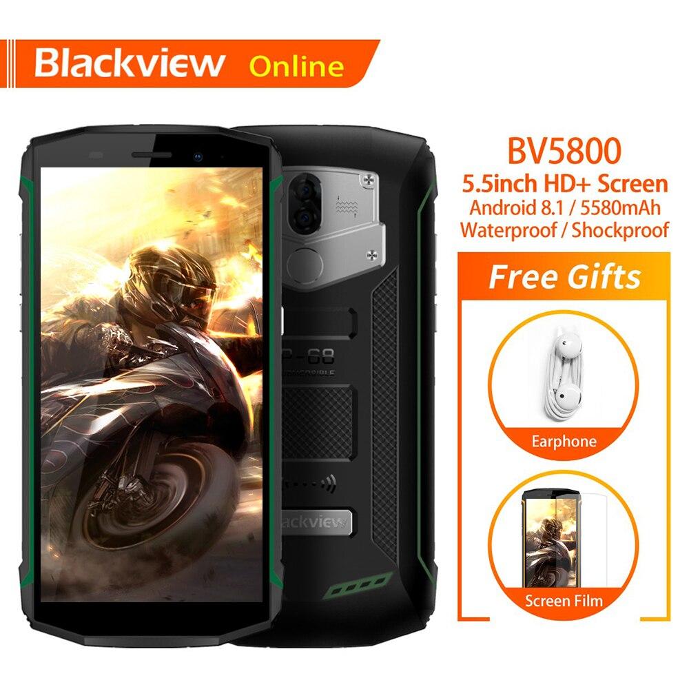 "Blackview BV5800 IP68 Waterproof 5.5"" Rugged Mobile Phone 2GB+16GB Fingerprint 5580mAh Quick Charge NFC 4G Best Tough Smartphone"