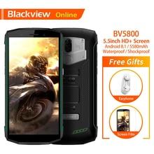 Blackview BV5800 Оригинал 5,5 «прочный IP68 Водонепроницаемый мобильный телефон 2 GB + 16 GB отпечатков пальцев 5580 mAh Quick Charge NFC 4G смартфон