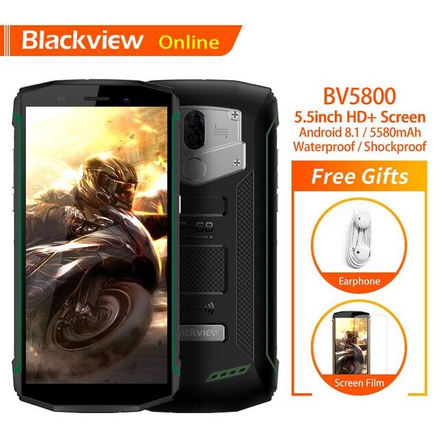 "Blackview BV5800 Original 5.5"" Rugged IP68 Waterproof Mobile Phone 2GB+16GB Fingerprint 5580mAh Quick Charge NFC 4G Smartphone"