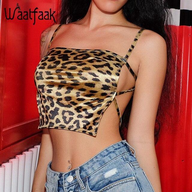 Waatfaak Leopard Crop Top Straps Camisole Satin Sexy Backless Bandage Boob Tank Top Fashion Slash Neck 2018 Croptop Femme 2018